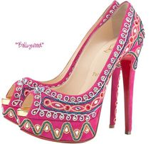 ChristianLouboutin  Bollywood  EmbroideredHotPinkSuidedwithStrass