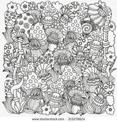 Pattern for coloring book in vector. Fantasy fairy mushrooms in the magic forest. Black and white pattern. Made by trace from sketch. Free Adult Coloring, Printable Adult Coloring Pages, Coloring Pages To Print, Coloring Book Pages, Coloring Sheets, Coloring Canvas, Ornament Pattern, Mushroom Drawing, Stuffed Mushrooms