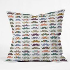 DENY Designs Home Accessories | Bianca Green Mustache Mania Throw Pillow