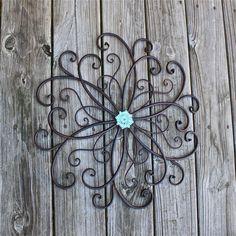 Metal Wall Decor/ Aquamarine/ Distressed Shabby Chic Art/ Painted Wall Furnishings/ Bright Outdoor Patio Decor/