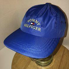 d9c90a2db0881 Vintage 90s TOMMY HILFIGER Blue Nylon Buckle Back Hat Cap FLAG One Size HIP  HOP