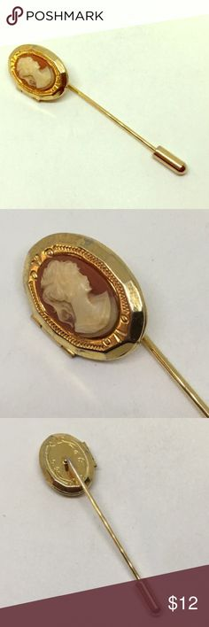 "Cameo gold plated stickpin or brooch 3"" long Cameo gold plated stickpin or brooch 3"" long Jewelry Brooches"