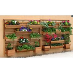 GRO Products Vertical GRO Wall System with 9 Planter Boxes - Planters at Hayneedle Vertical Wall Planters, Wooden Planters, Planter Boxes, Tall Planters, Hydroponic Gardening, Hydroponics, Organic Gardening, Container Gardening, Aquaponics Fish