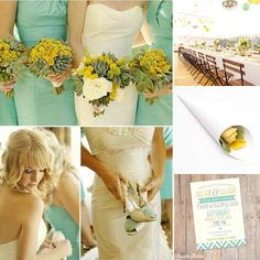 The perfect country themed colour scheme, yellow and mint green using our sunshine yellow roses, apple blossom hydrangeas and our plain white cones!