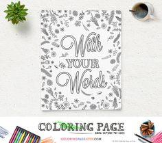 Personalized Coloring Page Design Printable Coloring Quotes Coloring Bible Verse Printable Zen Coloring Mandala Anti Stress Coloring Book