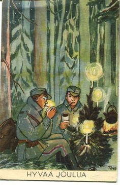 Finnish Christmas postcard illustration by Tove Jansson featuring Finnish soldiers in a wintery pine forest. Date of issue unknown Finnish Civil War, Christmas Mood, Xmas, Tove Jansson, Retro Images, Picture Postcards, Vintage Easter, Vintage Christmas Cards, Illustrators