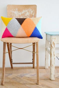 wood & wool harlequin pillow van woodwoolstool op Etsy, €125.00