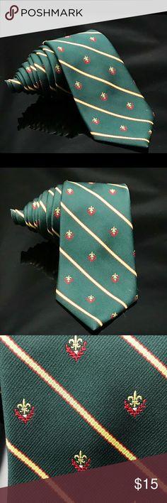 Cambridge Collection flower-de-luce Green Tie Cambridge Collection flower-de-luce Green Vintage Tie Accessories Ties