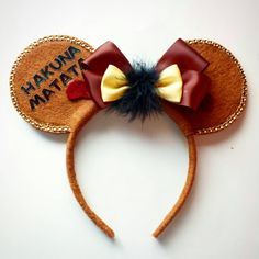 Custom designed and made Pumba Minnie Mouse Ears ($15) ❤ liked on Polyvore featuring accessories and hats