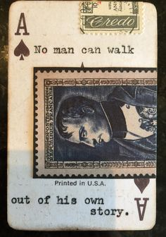 Altered ace of spades with vintage stamp Lara Irwin