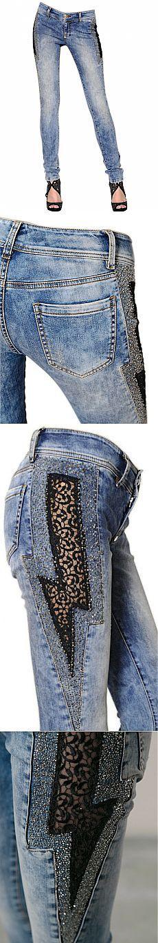 Calças de brim com um zíper no lado / Alteração de jeans /