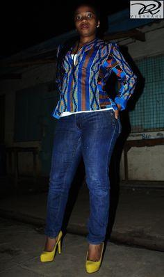 An african print highlow blazer with denim wata casual wear