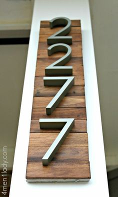 house numbers project (on stained pieces of wood) - super attractive