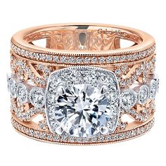 18k White/pink Gold Diamond Halo Engagement Ring angle 1