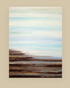 Beach Abstract Acrylic Art Original Painting on door OraBirenbaumArt