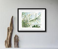 art print Windy Day No 2, bamboo watercolor print, aquamarine sky, landscape print, bamboo plant art, windy day art, modern art, home decor