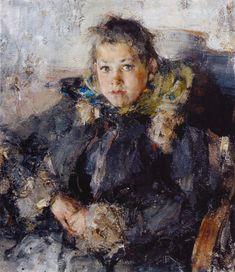 .:. Nikolai Ivanovich Fechin (1881-1955) - Portrait of a Girl (1910 )