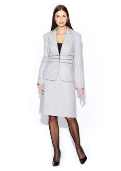 ISABELLA Notch Collar Skirt Suit with Zipper Waist Detail