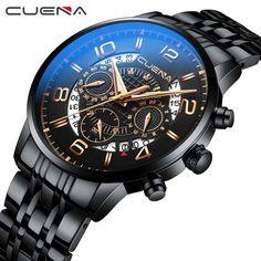 CUENA Men Watches Stainless Steel Men's Wristwatch Quartz Wrist Watch Men Waterproof Luxury Design Brand Fashion Clock Man Black