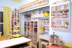 craft space room decor ideas storage, craft rooms, crafts, paper station and ribbon station