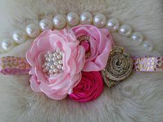 Pink Gold Headband/Baby Headbands/Baby Headbands and Bows/Infant Headbands/Baby Girl Headbands/Girl Headband Baby/Toddler Headbands by OohLaLaDivasandDudes on Etsy