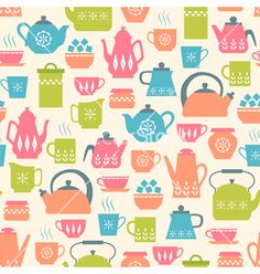 Tea time party pattern vector by fireflamenco on VectorStock®