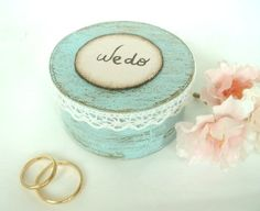 """Ring Bearer Pillow Box, Vintage Chic """"We do""""Shabby Chic Rustic Wedding Ring Box, Blue. on Etsy, $19.50"""