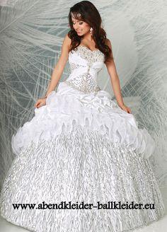 Metallic Abendkleid Ballkleid Online in Weiss