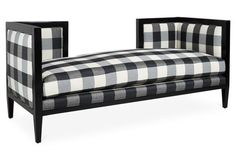 Create a cozy reading nook at the foot of a bed or in a living room corner with this Gingham Dixon Bench. Object of the Week: Gingham Celebrity Nurseries, Black And White Furniture, White Bench, Furniture Making, Furniture Ideas, Funky Furniture, Furniture Styles, Handmade Furniture, Furniture Inspiration