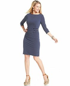 Charter Club Three-Quarter-Sleeve Striped Buckled Dress - Dresses - Women - Macy's