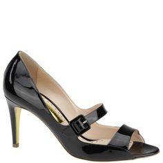 Rupert Sanderson black patent leather kitten heel peep toe mary jane. From spring summer 2014. Www.wunderl.com