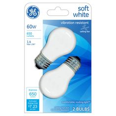 GE 40-Watt Ceiling Fan Incandescent Light Bulb (2-Pack) - Soft White,
