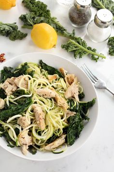 My Go-To Spiralized Diet Pasta: Baked Chicken and Kale Zucchini Pasta | Inspiralized