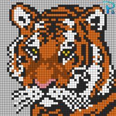 Tiger perler pattern - Patrones Beads / Plantillas para Hama