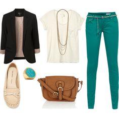 turquoise pants, black blazer