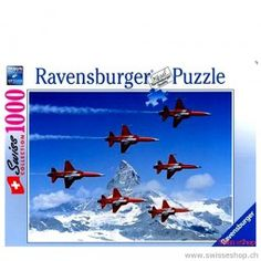 Patrouille Suisse - Puzzle / Patrouille Suisse - Puzzle / This game presents an attraction of Switzerland. Everyone in Switzerland looks to be happy when the pilot exercises. Puzzles, Game Presents, Ravensburger Puzzle, Switzerland, Toys, Baby, Games, Attraction, Pilot