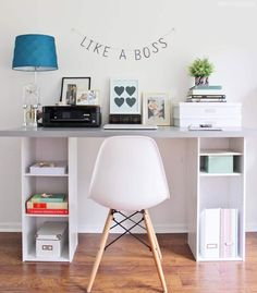 This IKEA hack desk is such an easy DIY for a home office! It's got storage too. If you need a workspace try this ikea office idea! Hacks Ikea, Desk Hacks, Office Hacks, Office Ideas, Desk Ideas, Hacks Diy, Ikea Hack Desk, Ikea Kids Desk, Ikea Linnmon Desk
