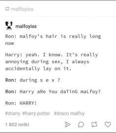 ideas funny harry potter texts thoughts for 2019 Draco Harry Potter, Harry Potter Texte, Harry Potter Ships, Harry Potter Universal, Fandoms, Wattpad, Hogwarts, Wolfstar, Tumblr