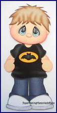 Premade Paper Pieced Light Hair Boy Batman Shirt for Scrapbook Pages-by Babs 8.99