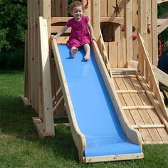 Idea for a DIY slide- build it out of wood then put a thick slippery plastic over the wood Backyard Playhouse, Build A Playhouse, Backyard Playground, Backyard For Kids, Playground Slides, Playset Slides, Diy Slides, Backyard Playset, Outdoor Playset