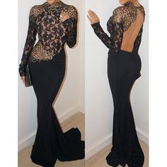 Sexy Round Neck Long Sleeve Backless Spliced Maxi Dress For Women