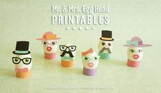 Mr. & Mrs. Egg Head Easter Printables on www.strawberrymommycakes.com #freeprintables #eastereggprintables #easterprintables #easter