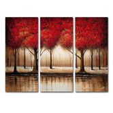 """Found it at Wayfair - """"Parade of Red Trees"""" 3 Piece Painting Print Set"""