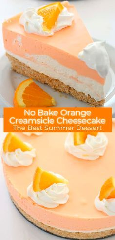 If you are a fan of Creamsicles, you are going to want to make this No Bake Orange Creamsicle Cheesecake this summer. You will find a delicious Nilla Cookie crust with layers of orange creamy cheesecake filling. Perfect for summer picnics and BBQ& Orange Creamsicle, Food Cakes, Cupcake Cakes, Cupcakes, Banana Split Cake Recipe, Brownie Desserts, Bbq Desserts, Cheesecake Desserts, Cheesecake Bites