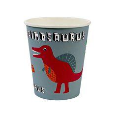 Die Pappbecher im Dino Design sind perfekt für den Geburtstagstisch auf einer Dinosaurier Geburtstagsfeier. Die Meri Meri - Pappbecher Dinosaurier Vers. II gibt es bei www.party-princess.de