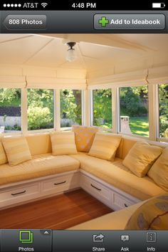 Yellow Sunroom Love the drawers underneath