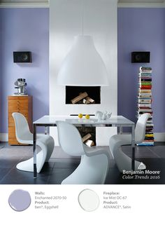 An accent wall does not have to be a dark color. Benjamin Moore's 'Ice Mist', subtly draws the eye to the fireplace for a clean, modern look. Our design experts used 'Enchanted' on the surrounding walls. See more of what's trending in paint colors in our Color Trends 2016 collection. #ColorTrends2016
