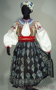 Slovak Folk Costume Liptov embroidered blouse crochet bonnet wool belt vest KROJ