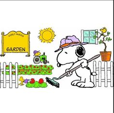 Snoopy and Woodstock Gardening