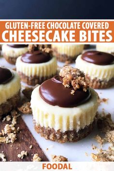 Love cheesecake, but struggle making it at home? Scale down the size and make it simple, small, and satisfying with our gluten-free mini cheesecakes covered in chocolate. In just one bite, you'll still get all the. Gluten Free Deserts, Gluten Free Sweets, Gluten Free Chocolate, Gluten Free Baking, Chocolate Muffins, Chocolate Cheesecake, Chocolate Brownies, Chocolate Cupcakes, Chocolate Desserts